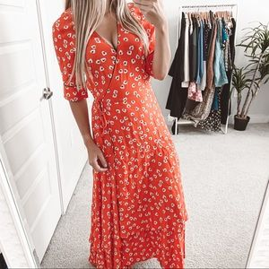 Ganni Big Apple Red Ruffle Wrap Floral Maxi Dress